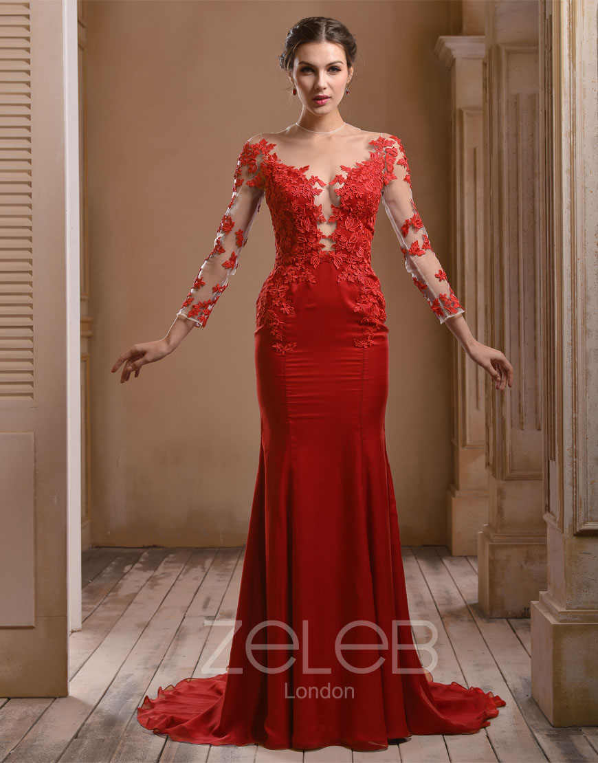 Red Lace Evening Dresses Uk - Prom Dresses Cheap