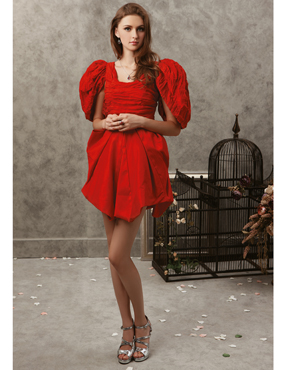 Ruched Silk Party Dress 0786