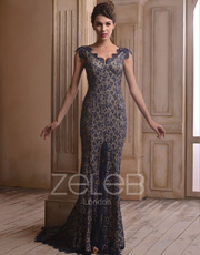 Gold Embroidered Evening Dress 1005