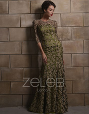 Olive Green Evening Dress 1009