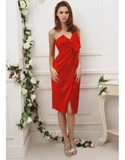 Wrap Tea Length Dress 0716
