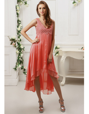 Flower Lace Asymmetric Dress 0720