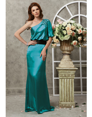 Single Sleeve Silk Dress 0736