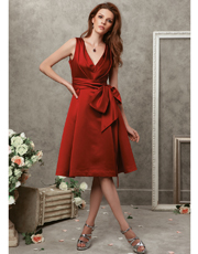 Tea Length Satin Dress 0737