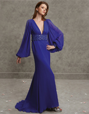 Puff Sleeve Full Length Dress 0751