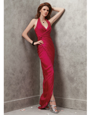 Halter Silk Chiffon Dress 0767