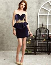 Silk Velvet Embroidered Dress 0777
