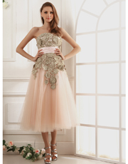 Gold Lace Tulle Dress 0779