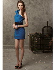 Singles Shoulder Wool Dress 0784