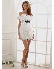 Strapless Feather Party Dress 0788