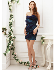 Taffeta Feather Party Dress 0789